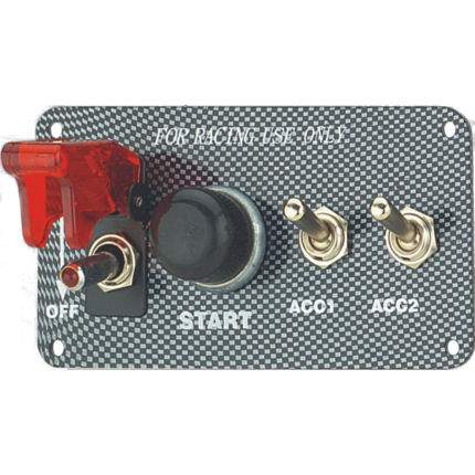 Ignition Switch / Aircraft Cover & Start +2 Accs - Carbon Effect