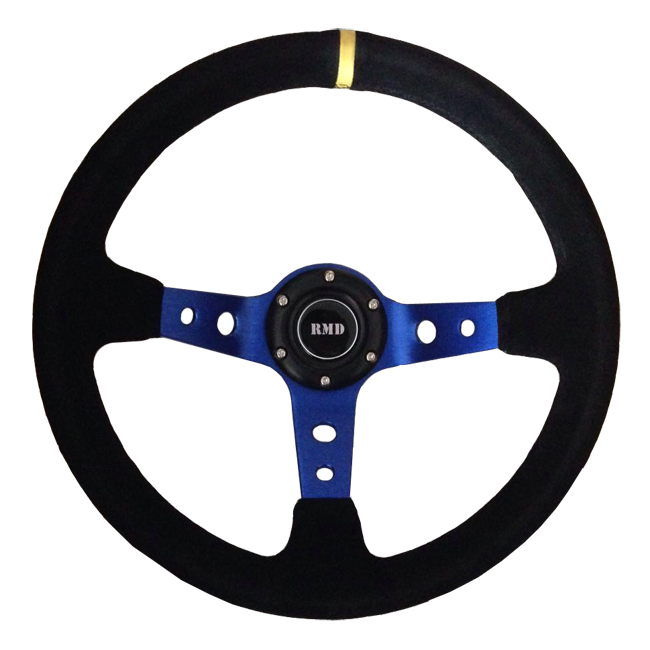 "Rally 350mm 3"" Dish - Blue Spokes, Black Suede Rim"