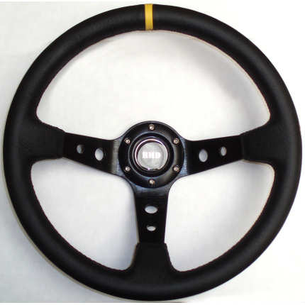 Rally 350mm Black Leather - Black Spokes - Dished