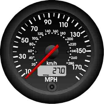 RMD Speedo Gauge 0>180MPH - 80mm Diameter - Electronic
