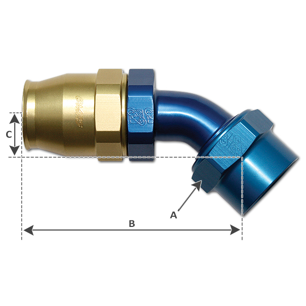 45° Elbow Hose Fitting -12 JIC (AN)