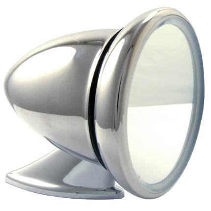 Classic Racing Mirror - Stainless Steel - Flat Glass