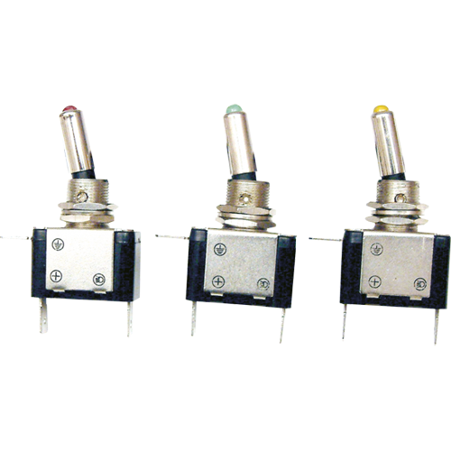 HD On/Off Toggle Switch with LED in End (Various Colours)