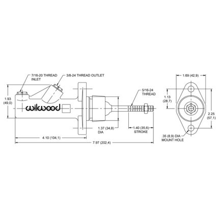 0.700 Wilwood Master Cylinder - Non Integral