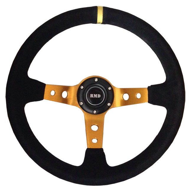 "Rally 350mm 3"" Dish - Gold Spokes, Black Suede Rim"