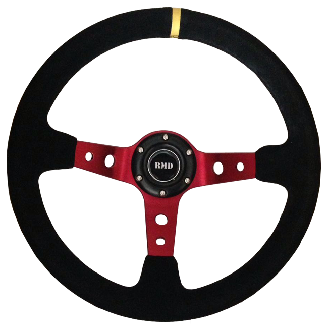 "Rally 350mm 3"" Dish - Red Spokes, Black Suede Rim"