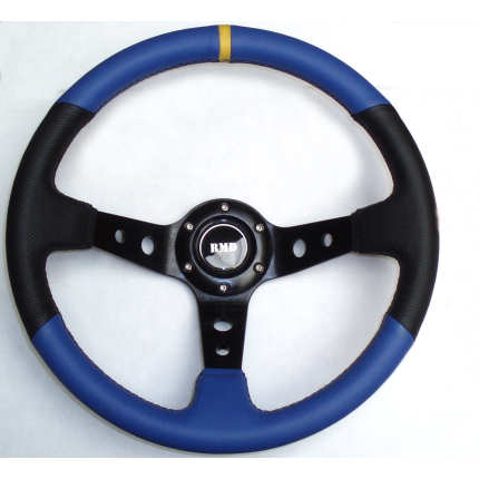 Rally 350mm Black/Blue Leather - Black Spokes - Dished