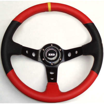 Rally 350mm Black/Red Leather - Black Spokes - Dished