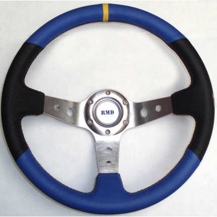 Rally 350mm Black/Blue Leather - Silver Spokes - Dished