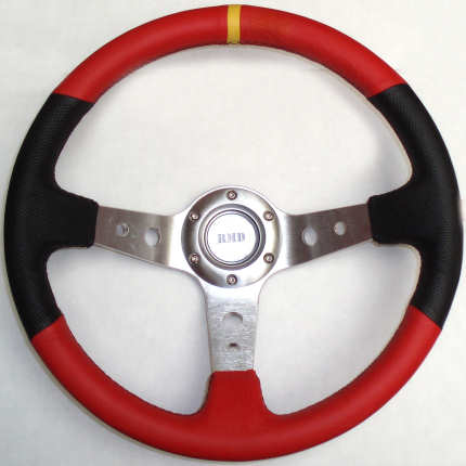 Rally 350mm Black/Red Leather - Silver Spokes - Dished