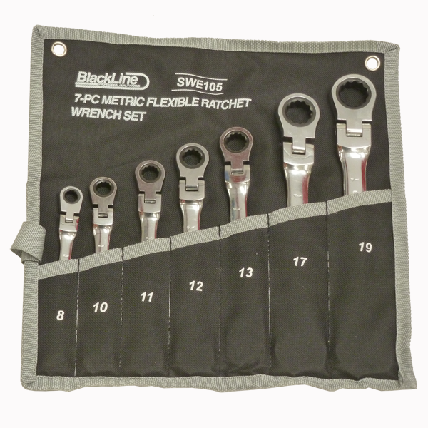 Blackline 7pc Metric Geared Ratchet Wrenches