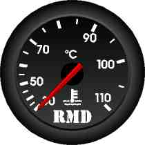 RMD Water Temp Gauge 0>110 C - 50mm Diameter - Mechanical 12ft