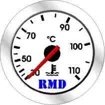 RMD Water Temp Gauge 0>110 C - 50mm Diameter - Mechanical 9ft