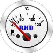 RMD Water Temp Gauge 40>120 C - 50mm Diameter - Electronic